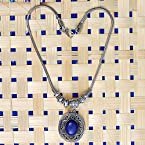 German Silver Necklace/Pendant - Blue Stone - Necklaces by Fashion Tokri
