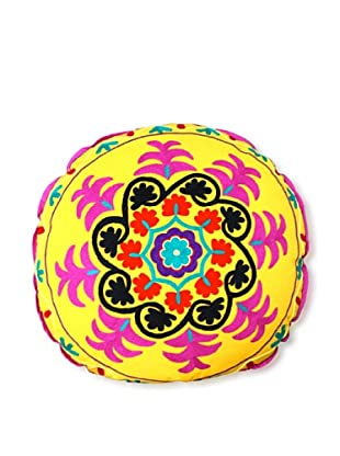 Modelli Creations Hand Embroidered Crewel Work Floor Pillow (Yellow)