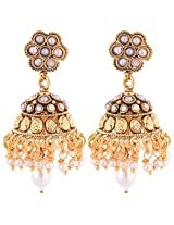 1 Gram Gold Plated Traditional South Indian Jhumka With Pearls