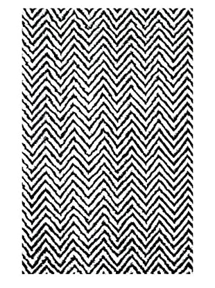 nuLOOM Hand Knotted Luxurious Chevron Kelli Rug, Black, 5' x 8'
