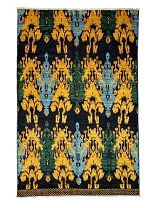 Darya Rugs Ikat Oriental Rug, Black/Yellow, 6' x 9'