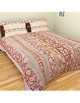 Cot Prints Rosette 100% Cotton Bed Sheet Set - Super King Size (108 x 108 Inches)(3 pieces)- Peach