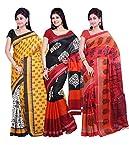 ISHIN Combo of 3 Bhagalpuri Silk Saree