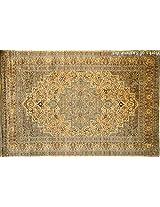Atsar 4'x6'', Extreme high knots Kashmir silk on silk carpets