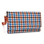 Blue and Orange Houndstooth Wristlet Wallet with Detachable Strap and Credit Card Holder fit Xiaomi Mi 4