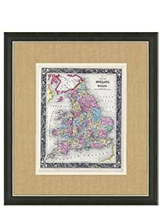 """Mitchell-Antique Map of England & Wales, 1860's-1870's, 21"""" x 23"""""""
