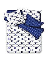 3 Or 4pcs Polyester Fiber Blue White Labyrinth Printed Bedding Set