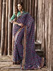 Triveni Sarees Printed Sari With Unstitch Blouse - 1055