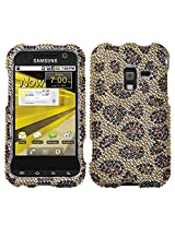 Aimo SAMD600HPCDM113NP Dazzling Diamante Bling Case for Samsung Conquer 4G D600 - Retail Packaging - Leopard Skin/Camel