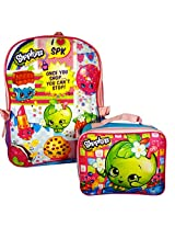 """Shopkins 16"""" Large Backpack with Detachable Lunch Box Bag"""