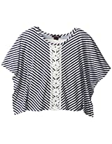 My Michelle Big Girls'  Striped Top with Crochet Detail, Navy, Large