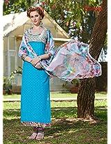 Rozdeal Women Cotton Light Blue Long Salwar Kameez