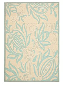 Indoor/Outdoor Exotic Floral Rug (Cream/Aqua)