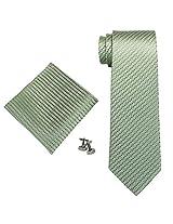 """Landisun Small Grid Mens Silk Tie Set: Tie+Hanky+Cufflinks 18A68 Green, 3.25""""Wx59""""L"""