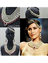 Latest Bridal Necklace Set with Head Jewelry in Maroon