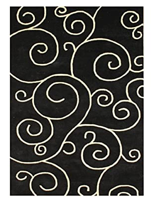 Alliyah Rugs Scrolls Rug (Black/Gold)