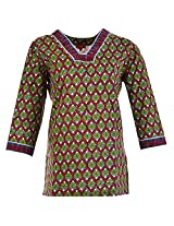 Karni Women's Cotton Green & Red Kurti
