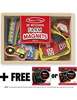 Farm Wooden 20 Magnets-in-a-Box Gift Set + FREE Melissa & Doug Scratch Art Mini-Pad Bundle [2791]
