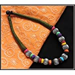 Olive green thread choker with multiple color beads