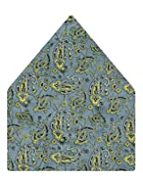 Tiekart Printed Silk Pocket Square (Ps380_Blue)
