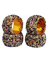 Set of 4 - Multicolor Beads Beaded Table Decoration Napkin Rings - Perfect for Dinner Parties - Dia 2.5 Inches
