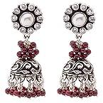 ADA Handcrafted Jewellery Sterling 925 Silver Jhumki Earring With Garnet For Women SE-1266.3