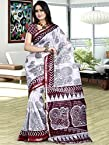 Kalazone White,Brown,Grey Cotton Printed Saree