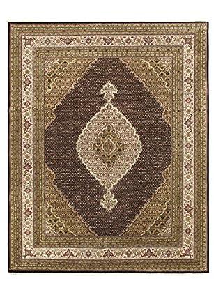 Hand-Knotted Tabriz Haj Jalili Wool & Silk Rug, Black/Cream, 8' 1