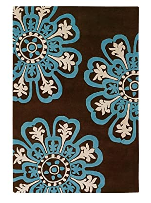 Chandra Counterfeit Studio Hand Tufted Wool Rug (Chocolate/Sky)