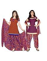 Triveni Women's Polyester Unstitched Salwar Kameez (TSDKTSK3003_Orange)