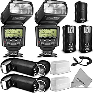 Professional Flash Kit for NIKON DSLR Cameras D7100 D7000 D5300 D5200 D5100 D5000 D3300 D3200 D3100 - Includes: 2pcs Altura Photo I-TTL Auto-Focus Dedicated Flashes + Wireless Camera Flash Trigger and Camera Remote Control Function (1 Transmitter, 2 Recei