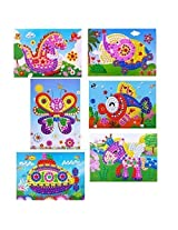 Oveelando®6in1 Mosaics Sticky Elephant,fish,dinosaur,spaceship,pegasus,butterfly Card,sheet,picture