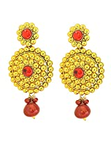 Surat Diamonds Traditional Rajasthani Style Red Coloured Stone & Gold Plated Round Shaped Chandbali Earrings for Women (PSE53)