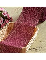 Claret Handmade Hair Decoration Wide Elastic Stretch Lace Trim wedding dress skirt lace trim