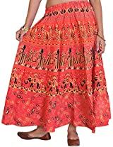 Exotic India Sanganeri Midi Skirt from Jodhpur with Printed Marriage Procession - Color Ember GlowGarment Size Free Size