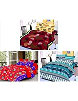 Nature Made Pack of 3 Blue & Maroon & Red Printed Double Bed Sheets 250 TC