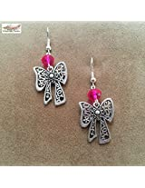 Under the Feather Charm Earrings- Silver Bow