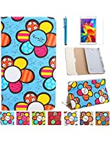 AiSMei® Sunflower Case For Samsung Galaxy Tab 4 7.0 SM-T230,T231,SM-T230NU 7-Inch Tablet PC, Case + Stylus Pen + Screen Protector - Light Blue