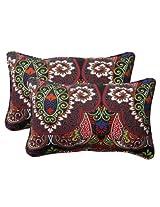 Pillow Perfect Indoor/Outdoor Marapi Corded Rectangular Throw Pillow, Black, Set of 2