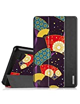 """Fintie Fire 7 2015 Slim Shell Case - Ultra Slim Lightweight Standing Cover for Amazon Fire 7 Tablet (will only fit Fire 7"""" Display 5th Generation - 2015 release), Floral Fan Purple"""