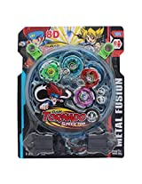 4 BeyBlade Set with Ripchord Launcher and Assemble Tool - 8D Tornado Speed Top