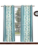 Avioni Home Fancy Rich Look Aqua flowers with stripes Eyelet curtain polyester Material (4 feet X 7 feet) (set of 2)