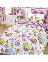 TWEET TWEET BIRDS JUNIOR BABY GIRLS COT BED DUVET QUILT COVER BEDDING SET - PINK
