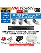 HIKVISION Full HD (2MP) 4CCTV Cameras & 4Ch.Full HD DVR Kit (All Accessories)