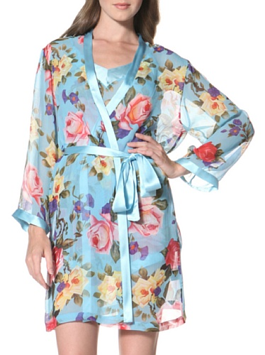 La Fee Verte Women's Silk Kimono (Gypsy Rose Blue)