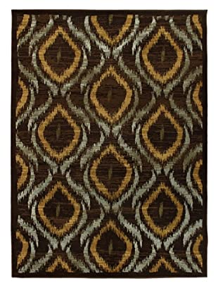 Ikat Area Rug, Dark Brown, 5' 5