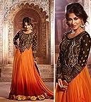 Chitrangada Singh Orange & Brown Embroidery & Hand work Top Nett & Velvet with Santoon Bottom & Chiffon Dupatta Anarkali Salwar Kameez Suit