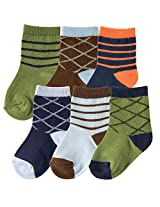 Hudson Baby 6 Pair Socks Gift Set, Green and Orange Argyle, 0-6 Months