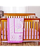 Dream On Me Pink Butterfly and Flower 3 Piece Set Reversible Full Size Crib Bedding Set