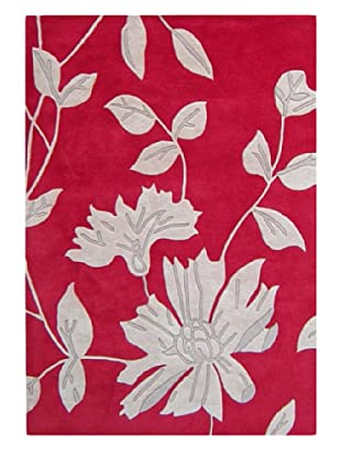 Alliyah Rugs Leaves Rug (Red/Light Grey)